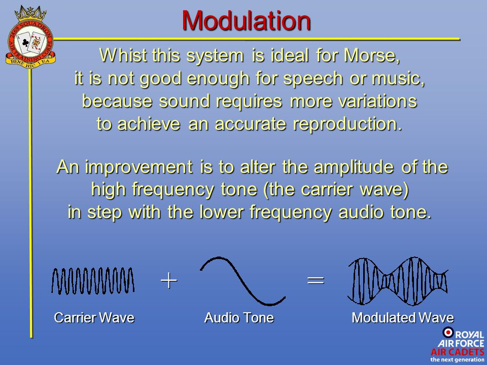 + = Modulation Whist this system is ideal for Morse,