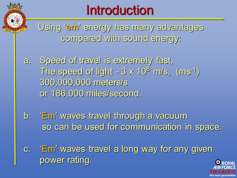 Introduction Using 'em' energy has many advantages