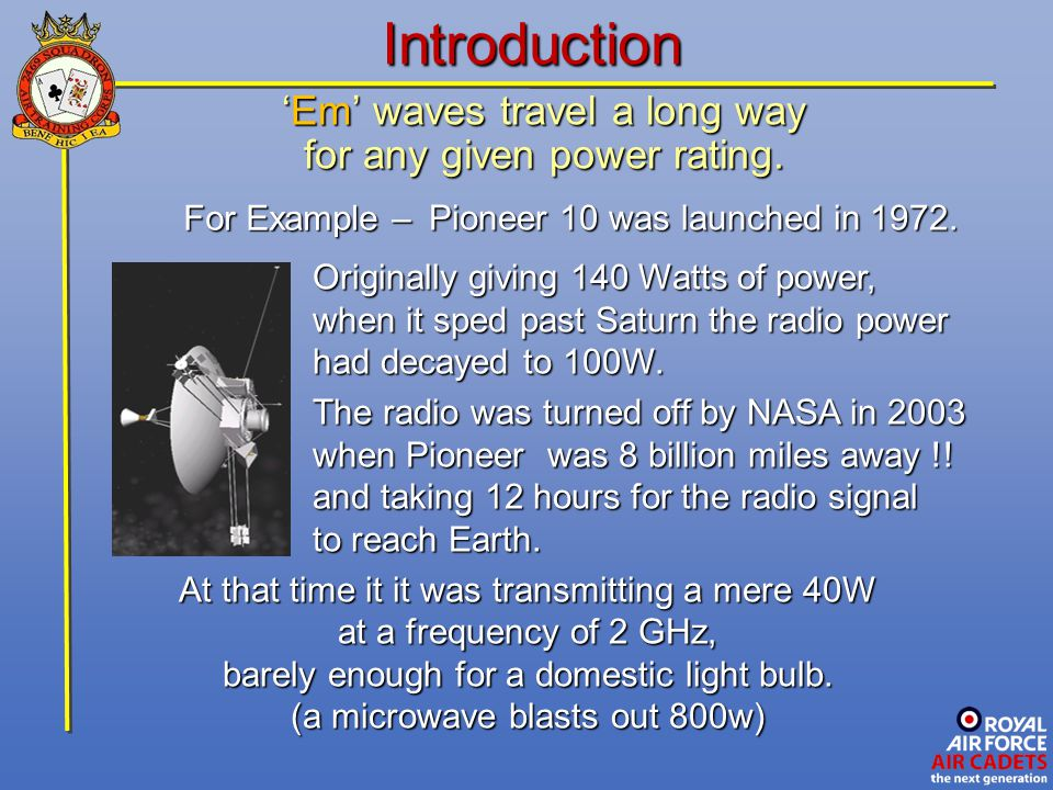 Introduction 'Em' waves travel a long way for any given power rating.