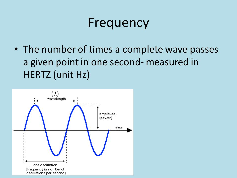 Frequency The number of times a complete wave passes a given point in one second- measured in HERTZ (unit Hz)