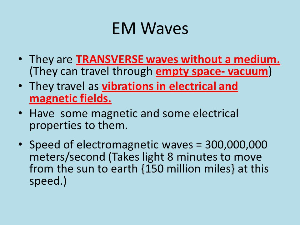 EM Waves They are TRANSVERSE waves without a medium. (They can travel through empty space- vacuum)