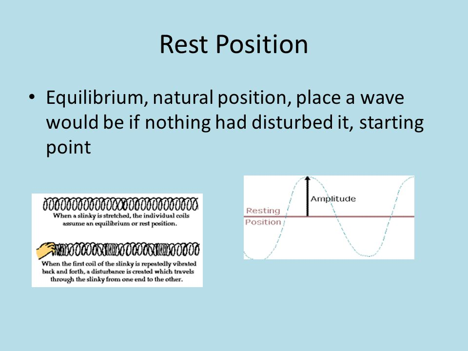 Rest Position Equilibrium, natural position, place a wave would be if nothing had disturbed it, starting point.