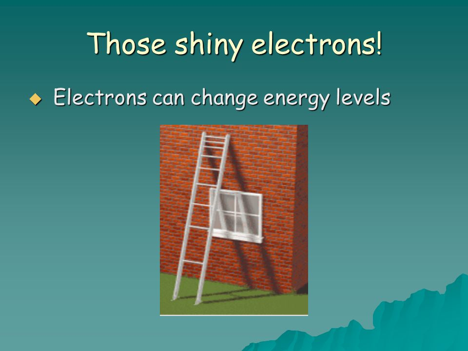Those shiny electrons! Electrons can change energy levels