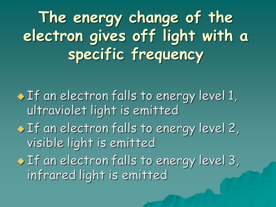 The energy change of the electron gives off light with a specific frequency