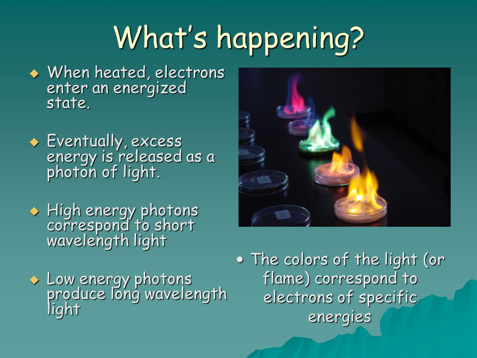 What's happening When heated, electrons enter an energized state.