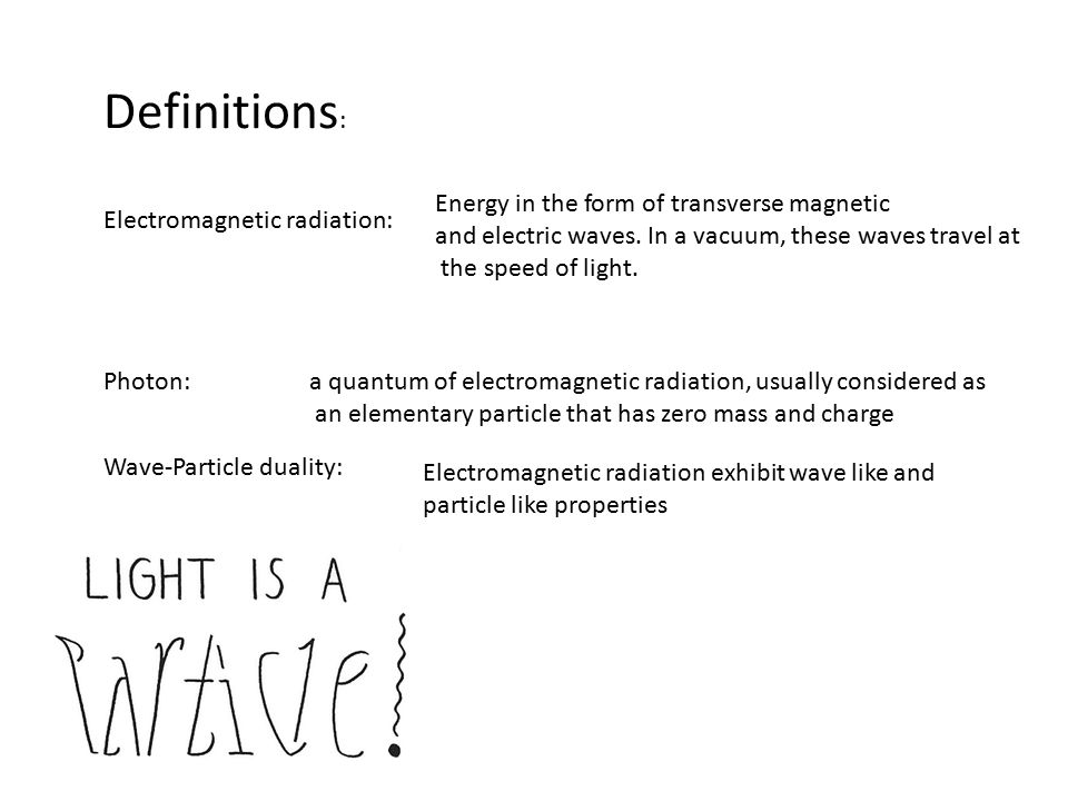 Definitions: Energy in the form of transverse magnetic