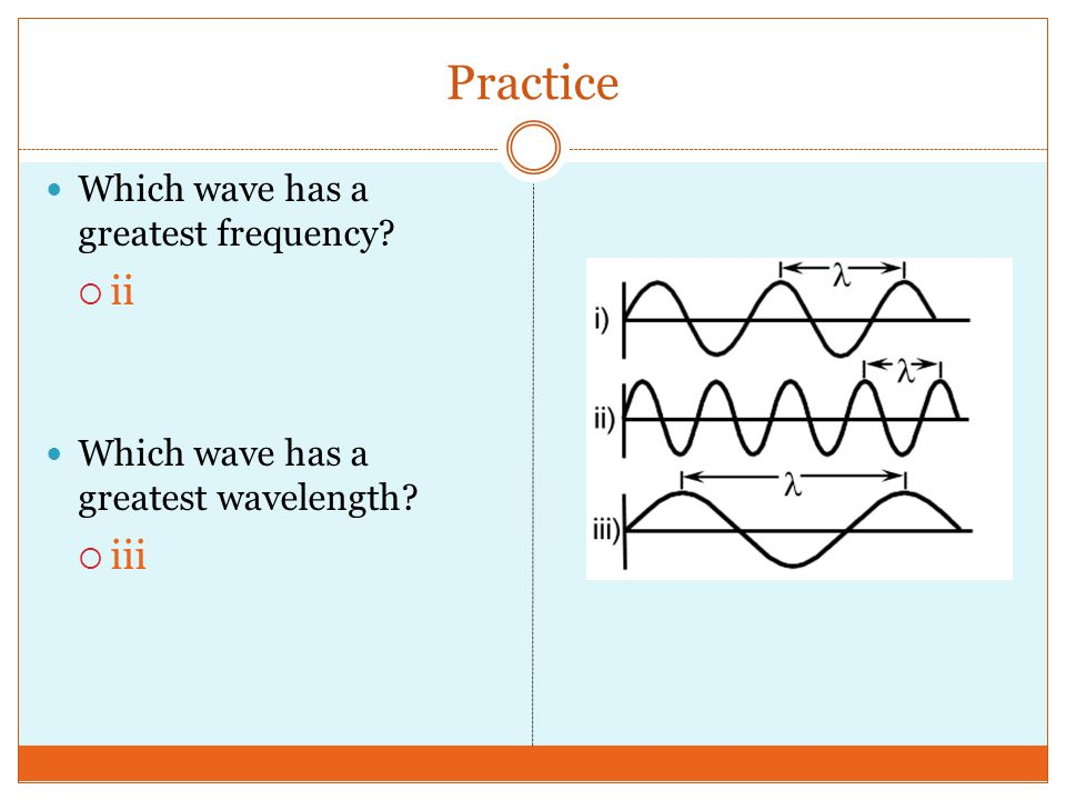 Practice ii iii Which wave has a greatest frequency