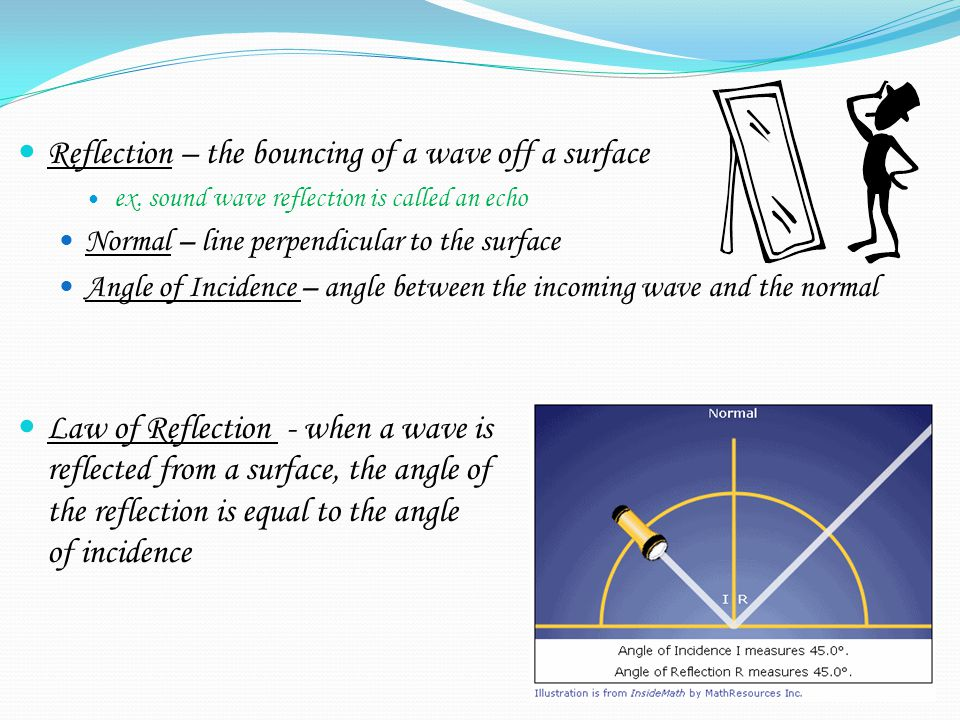 Reflection – the bouncing of a wave off a surface