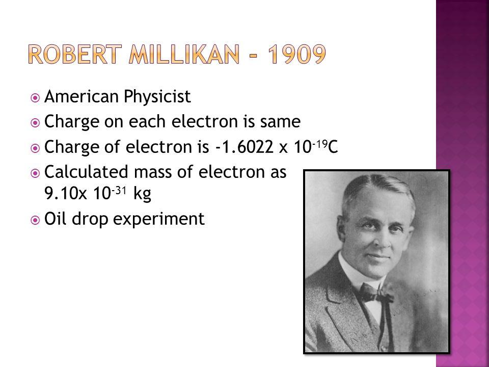 Robert Millikan - 1909 American Physicist