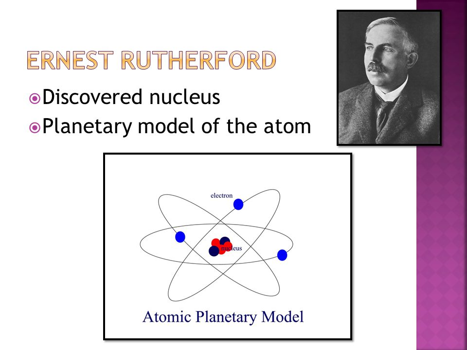 Ernest Rutherford Discovered nucleus Planetary model of the atom