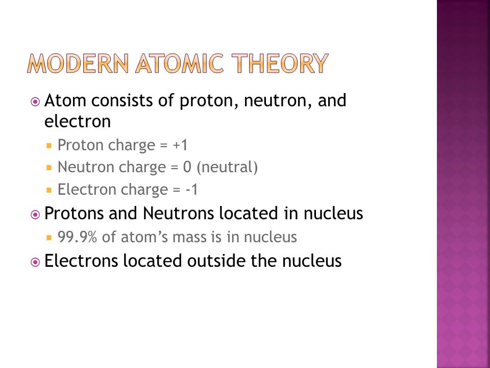 Modern Atomic Theory Atom consists of proton, neutron, and electron