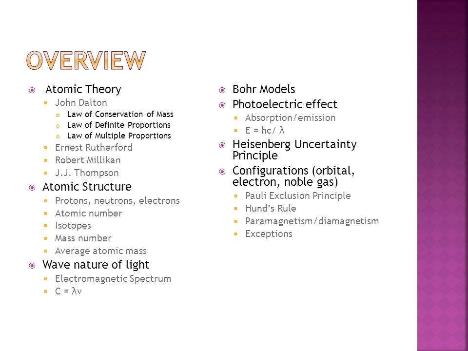 Overview Atomic Theory Atomic Structure Wave nature of light