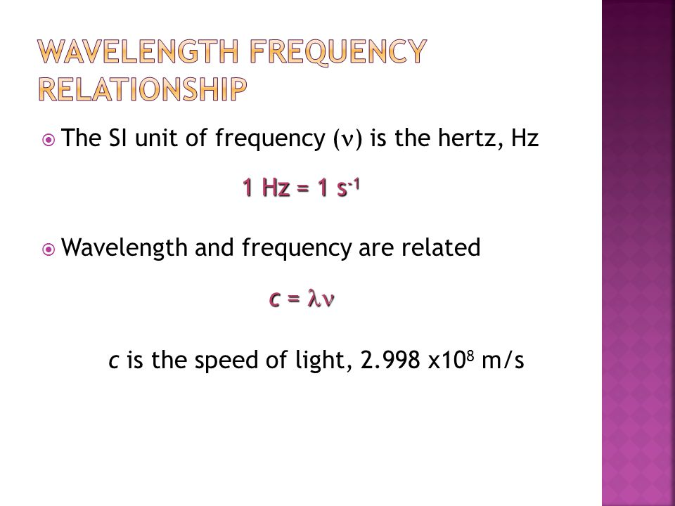 Wavelength Frequency Relationship