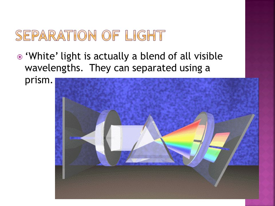 Separation of Light 'White' light is actually a blend of all visible wavelengths.