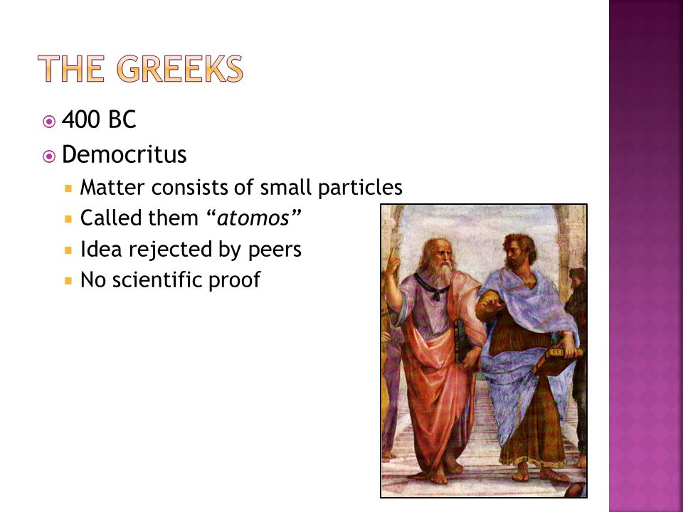 The Greeks 400 BC Democritus Matter consists of small particles