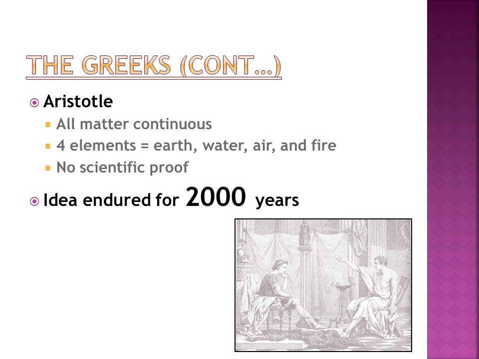 The Greeks (cont…) Aristotle Idea endured for 2000 years