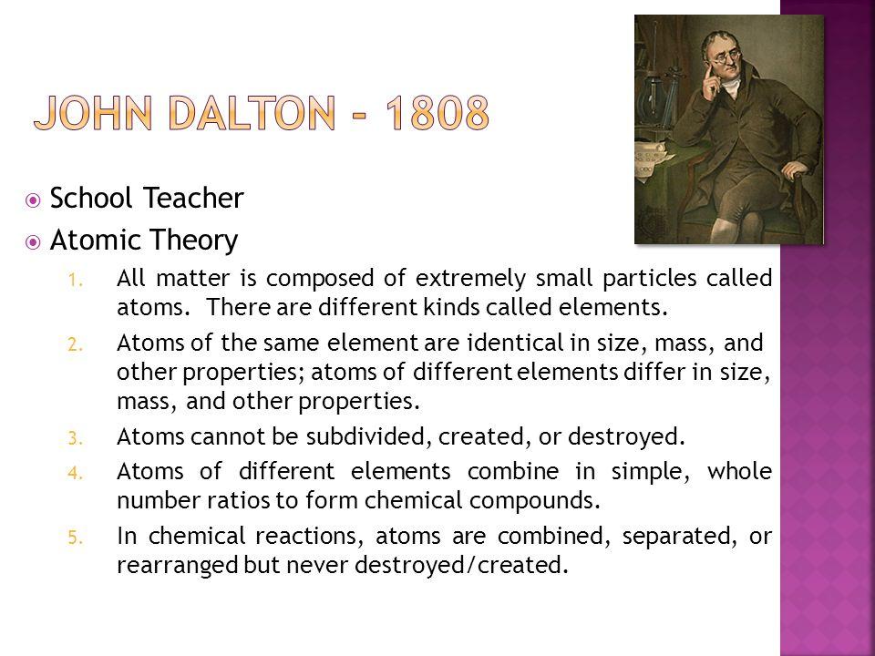 John Dalton - 1808 School Teacher Atomic Theory