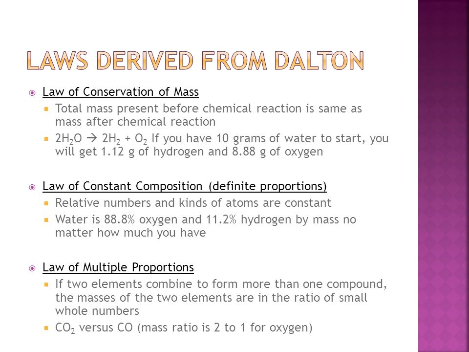 Laws derived from dalton