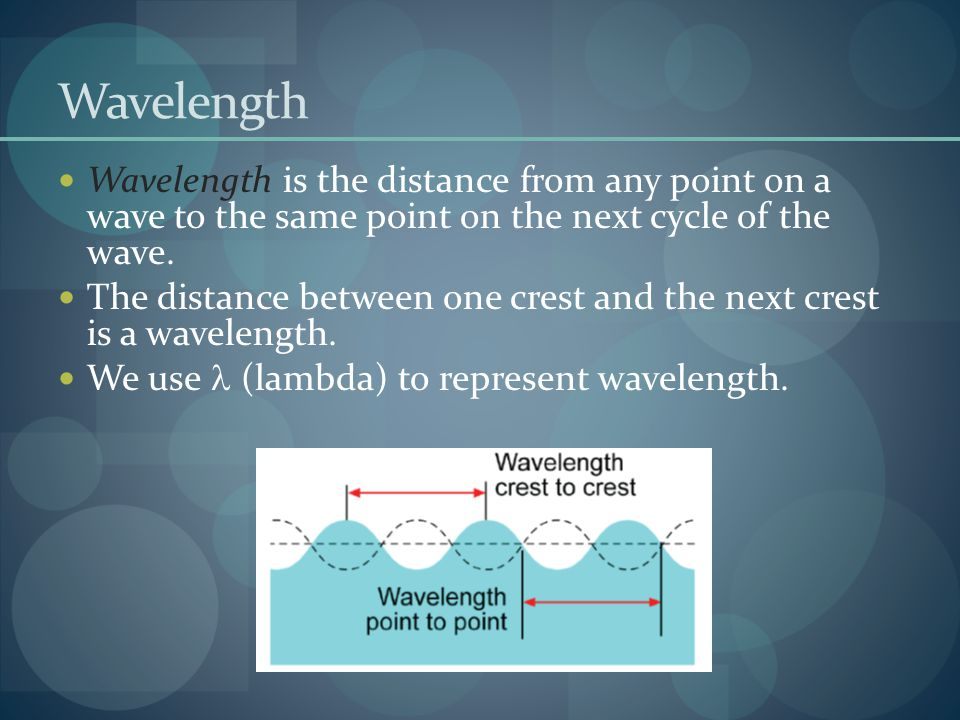 Wavelength Wavelength is the distance from any point on a wave to the same point on the next cycle of the wave.