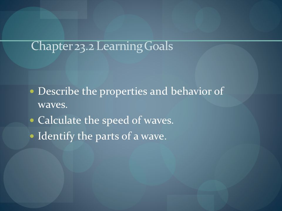 Chapter 23.2 Learning Goals
