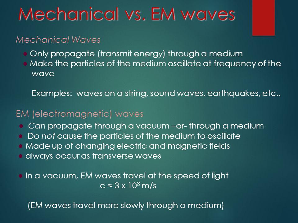 Mechanical vs. EM waves Mechanical Waves. ● Only propagate (transmit energy) through a medium.