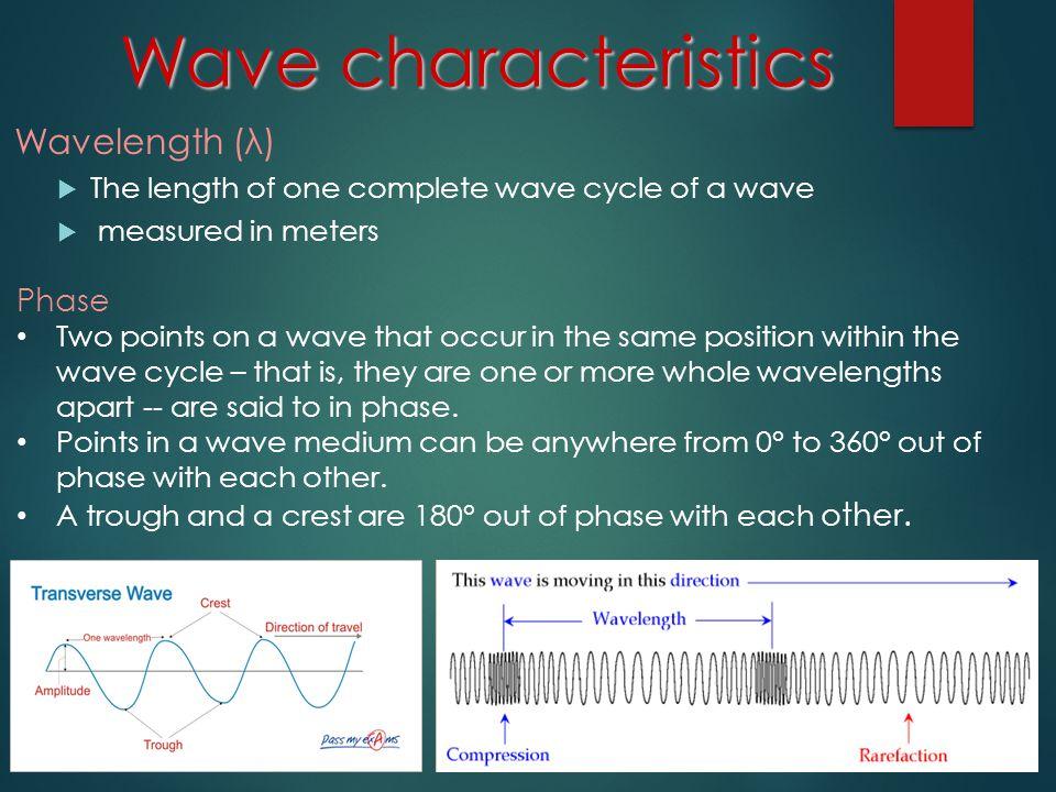 Wave characteristics Wavelength (λ) Phase