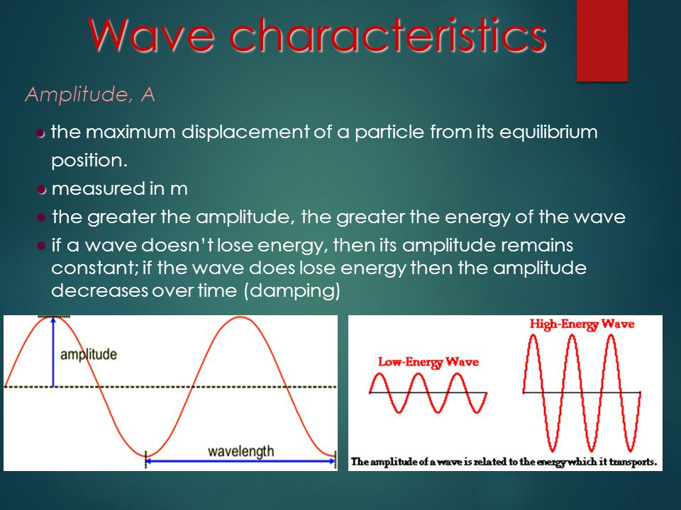 Wave characteristics Amplitude, A position. ● measured in m