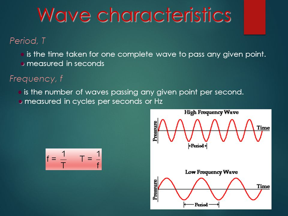 Wave characteristics Period, T Frequency, f