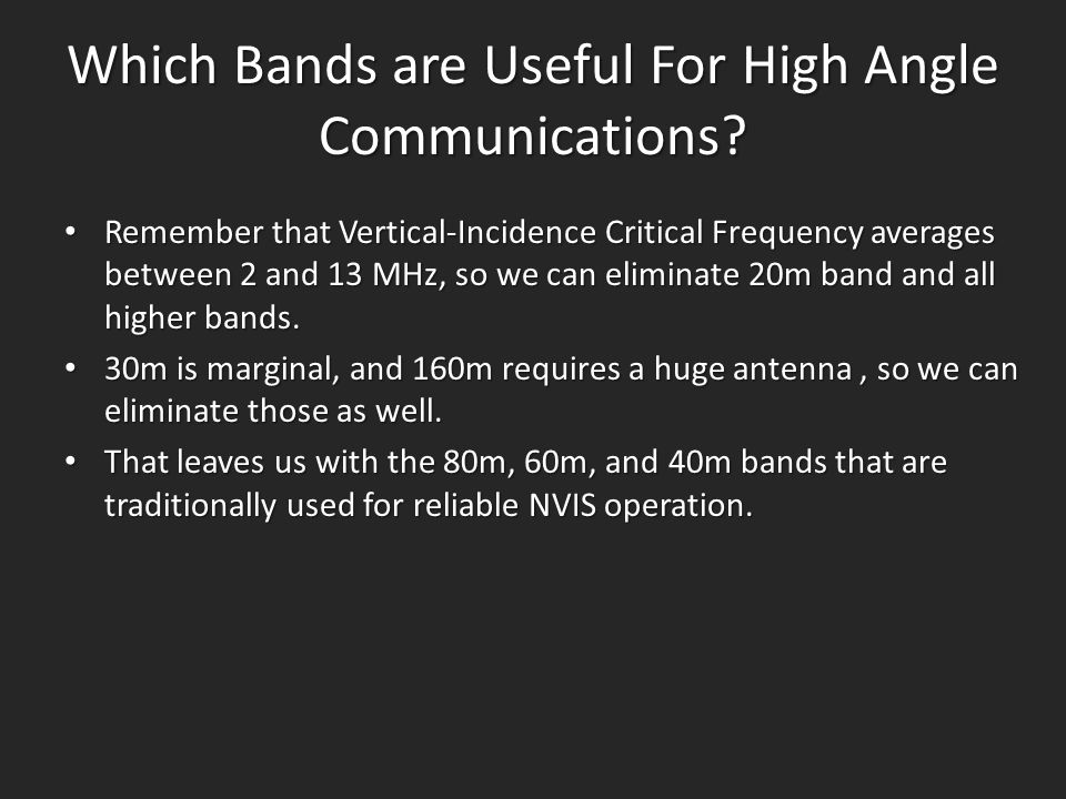 Which Bands are Useful For High Angle Communications