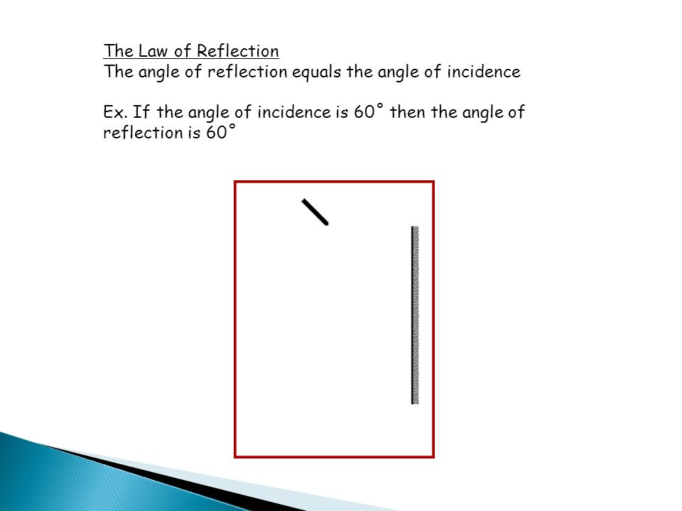 The Law of Reflection The angle of reflection equals the angle of incidence.