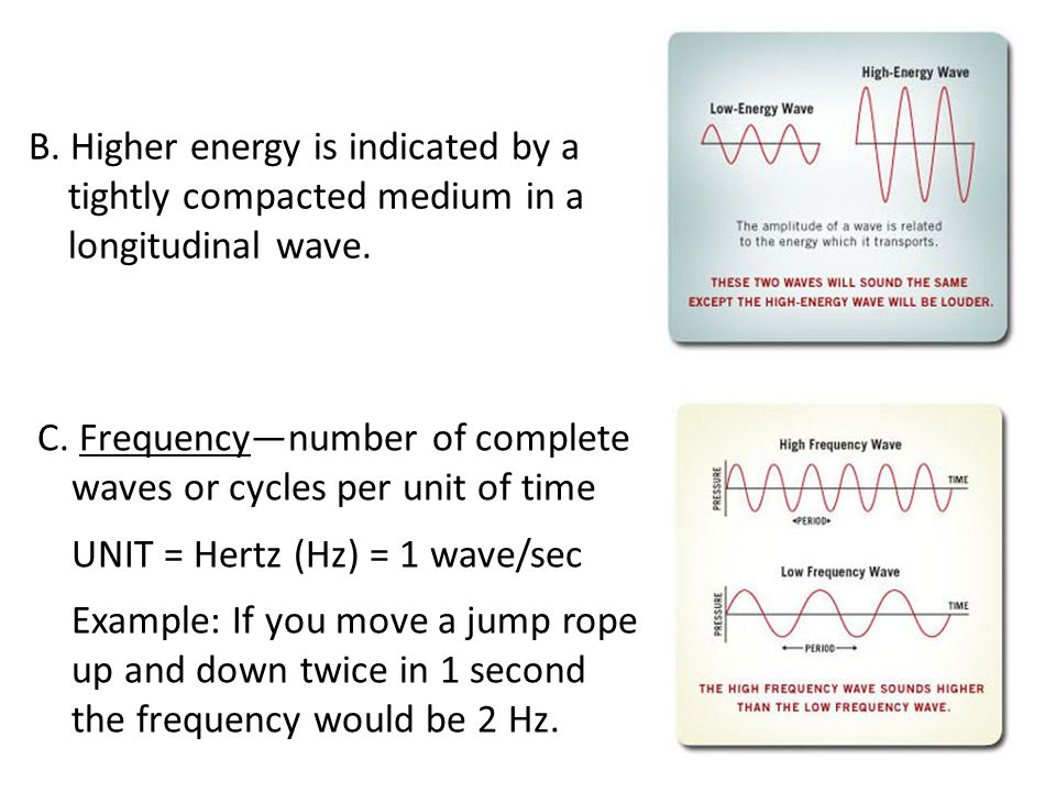 B. Higher energy is indicated by a tightly compacted medium in a longitudinal wave.