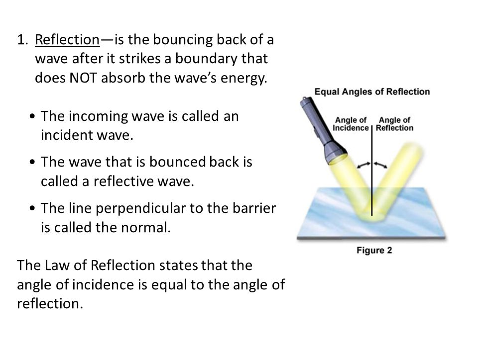 Reflection—is the bouncing back of a wave after it strikes a boundary that does NOT absorb the wave's energy.