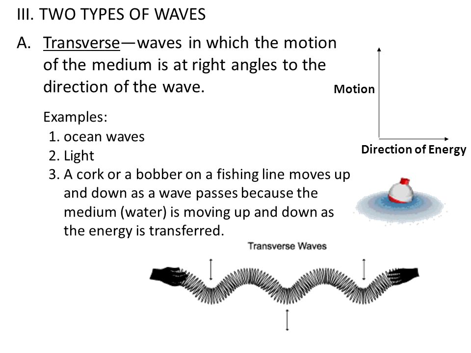 III. TWO TYPES OF WAVES Transverse—waves in which the motion of the medium is at right angles to the direction of the wave.