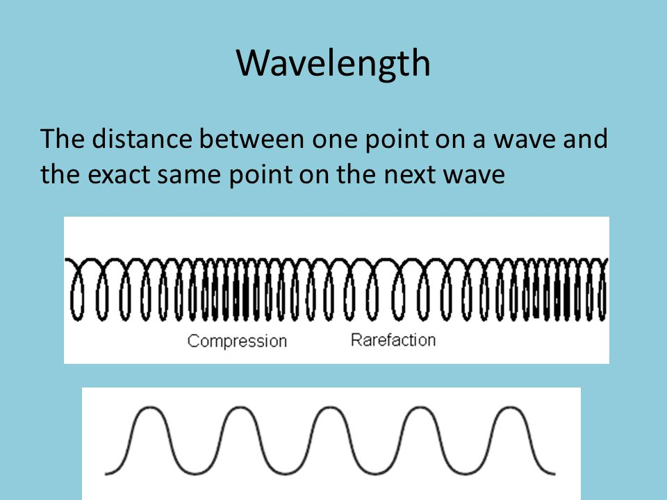 Wavelength The distance between one point on a wave and the exact same point on the next wave