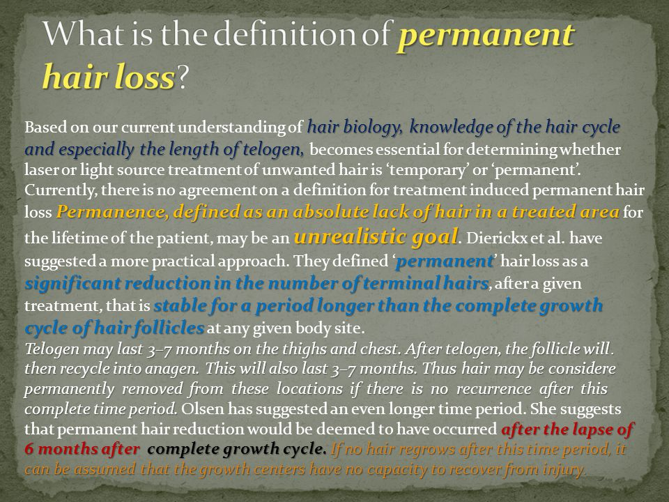 What is the definition of permanent hair loss
