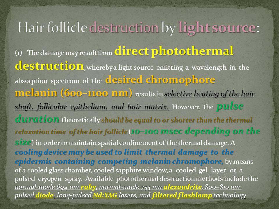 Hair follicle destruction by light source: