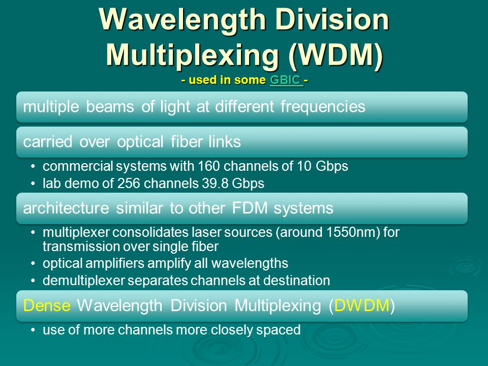 Wavelength Division Multiplexing (WDM) - used in some GBIC -
