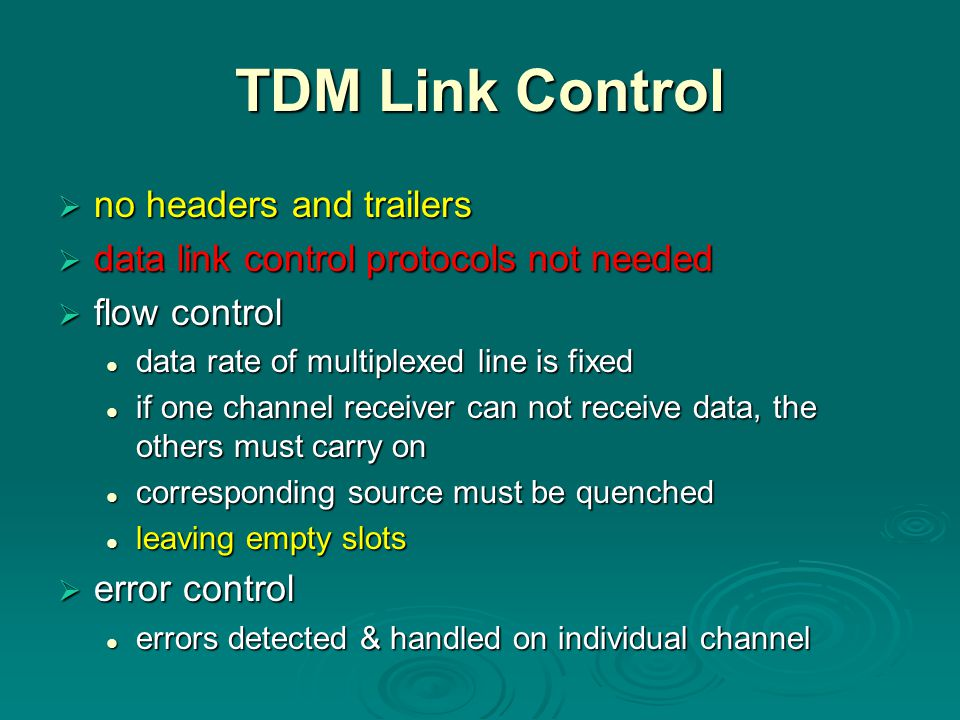 TDM Link Control no headers and trailers