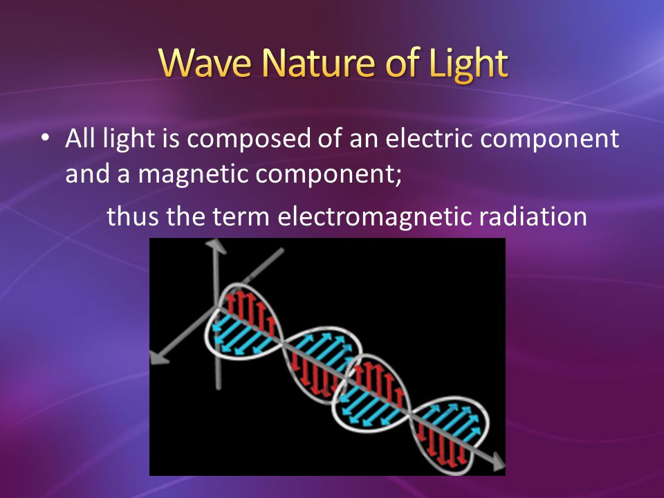 Wave Nature of Light All light is composed of an electric component and a magnetic component; thus the term electromagnetic radiation.