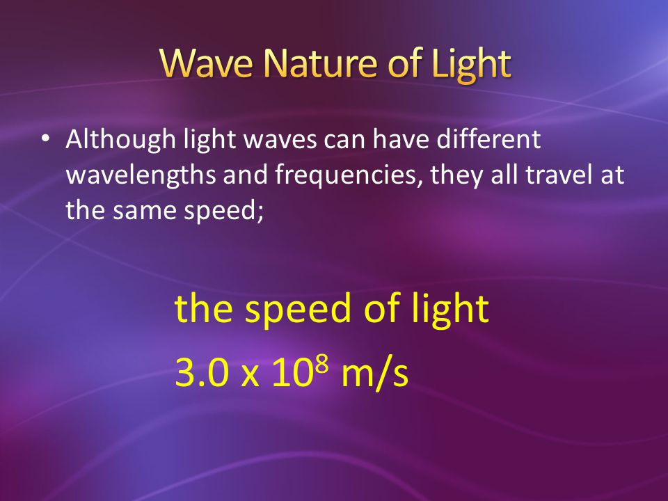 Wave Nature of Light 3.0 x 108 m/s