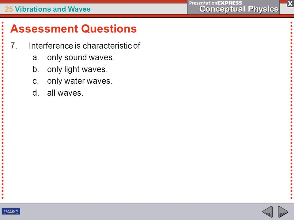 Assessment Questions Interference is characteristic of
