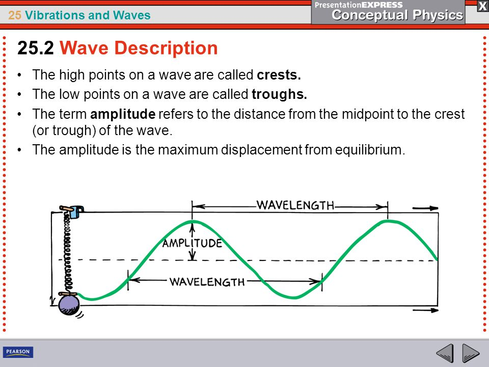 25.2 Wave Description The high points on a wave are called crests.