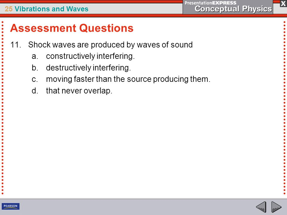Assessment Questions Shock waves are produced by waves of sound