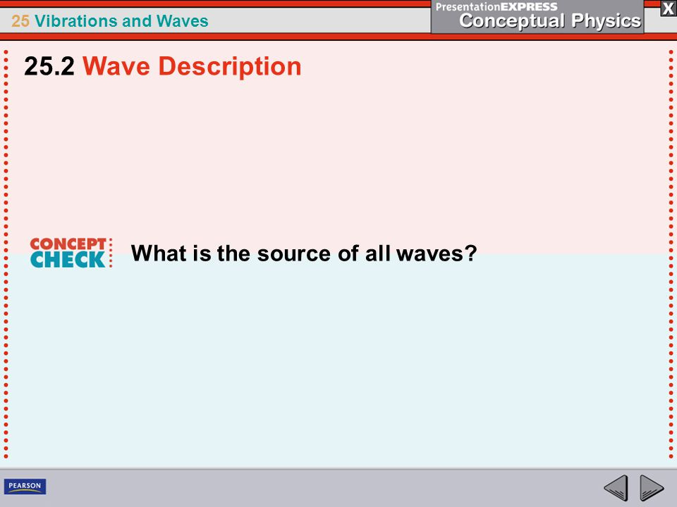 25.2 Wave Description What is the source of all waves