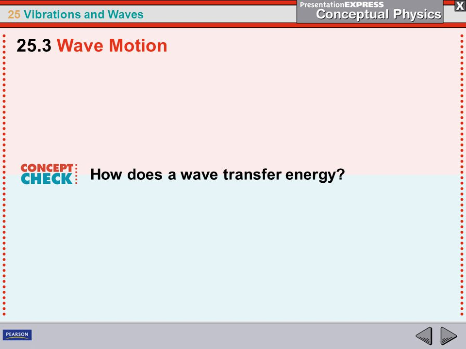 25.3 Wave Motion How does a wave transfer energy