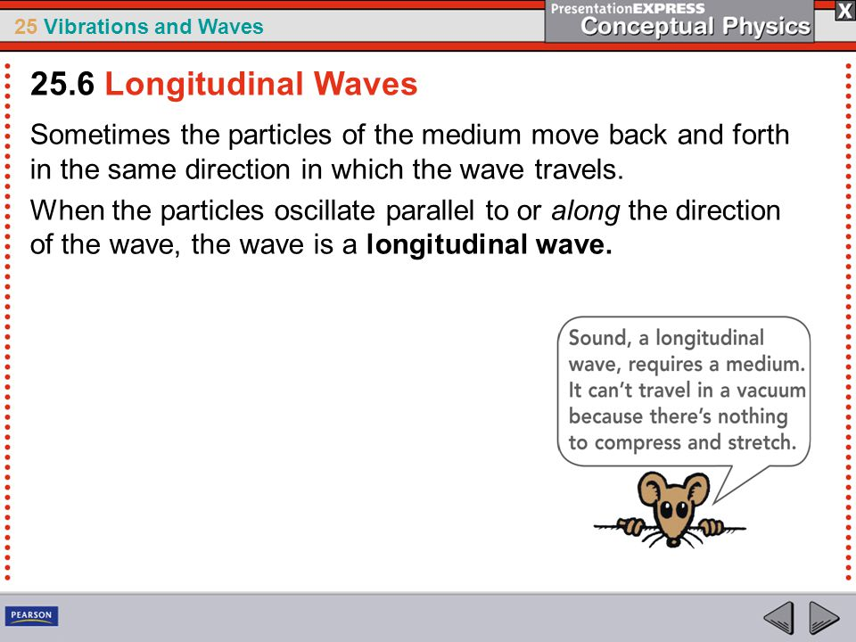25.6 Longitudinal Waves Sometimes the particles of the medium move back and forth in the same direction in which the wave travels.