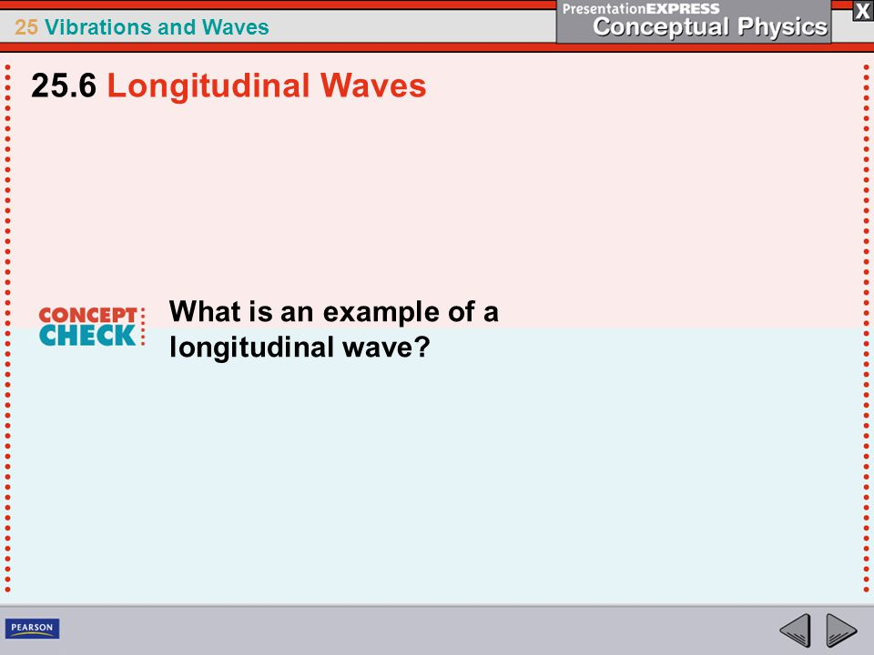 25.6 Longitudinal Waves What is an example of a longitudinal wave