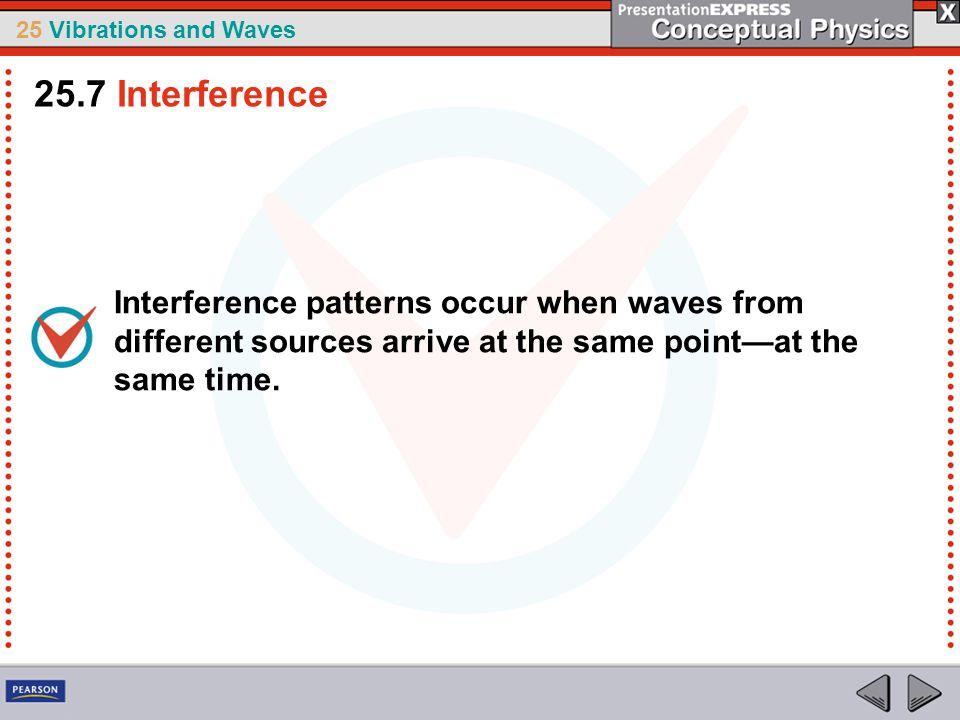 25.7 Interference Interference patterns occur when waves from different sources arrive at the same point—at the same time.
