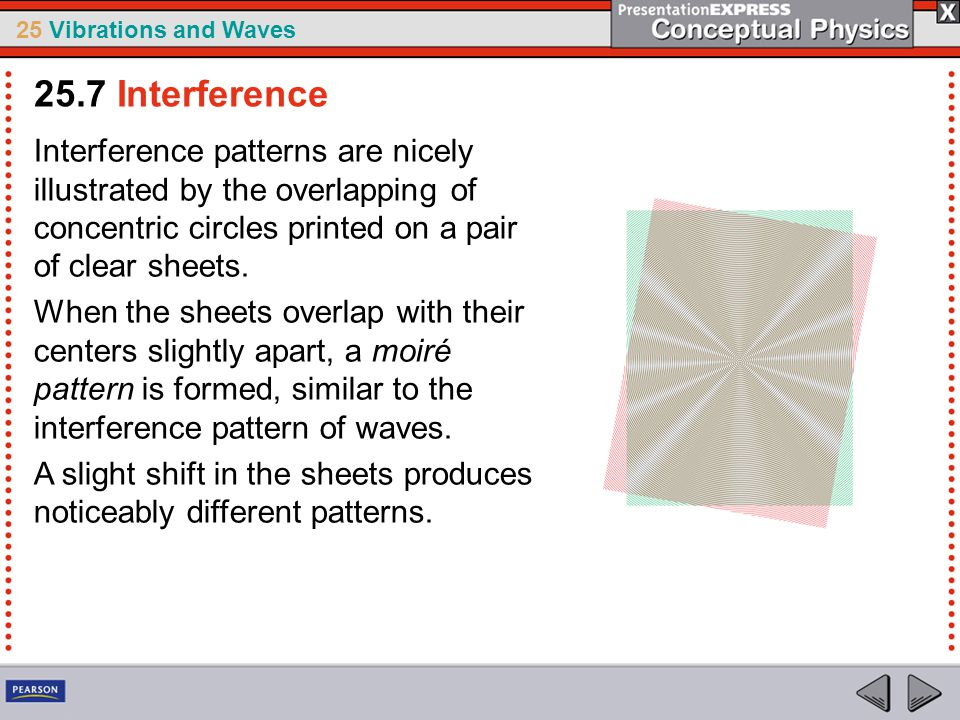 25.7 Interference Interference patterns are nicely illustrated by the overlapping of concentric circles printed on a pair of clear sheets.