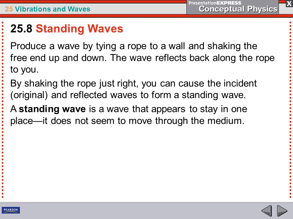 25.8 Standing Waves Produce a wave by tying a rope to a wall and shaking the free end up and down. The wave reflects back along the rope to you.